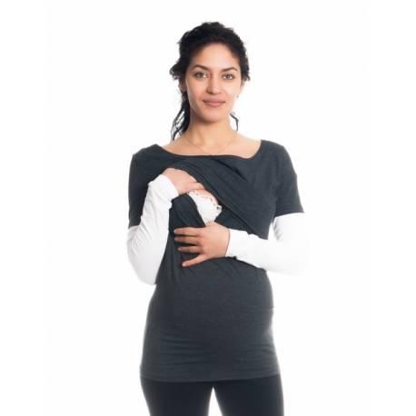 Tehotenské, dojčiace tričko / blúzka dlhý rukáv Ria - grafit/biele, veľ. XL