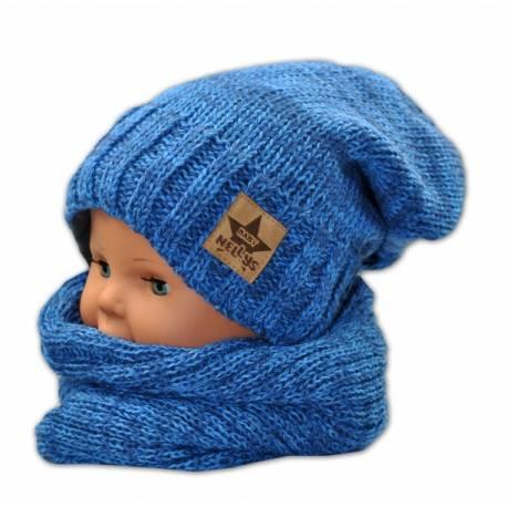 Jesenná/zimná čiapka s komínkem - modrá