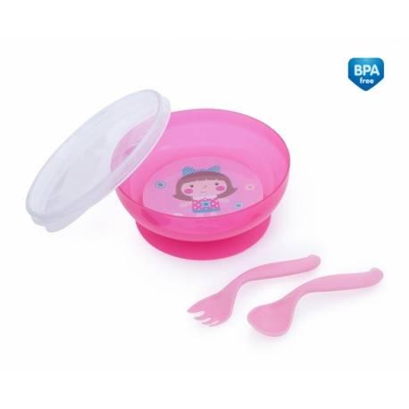 Uzatvárateľná miska s lyžičkou a vidličkou Toys - ružová