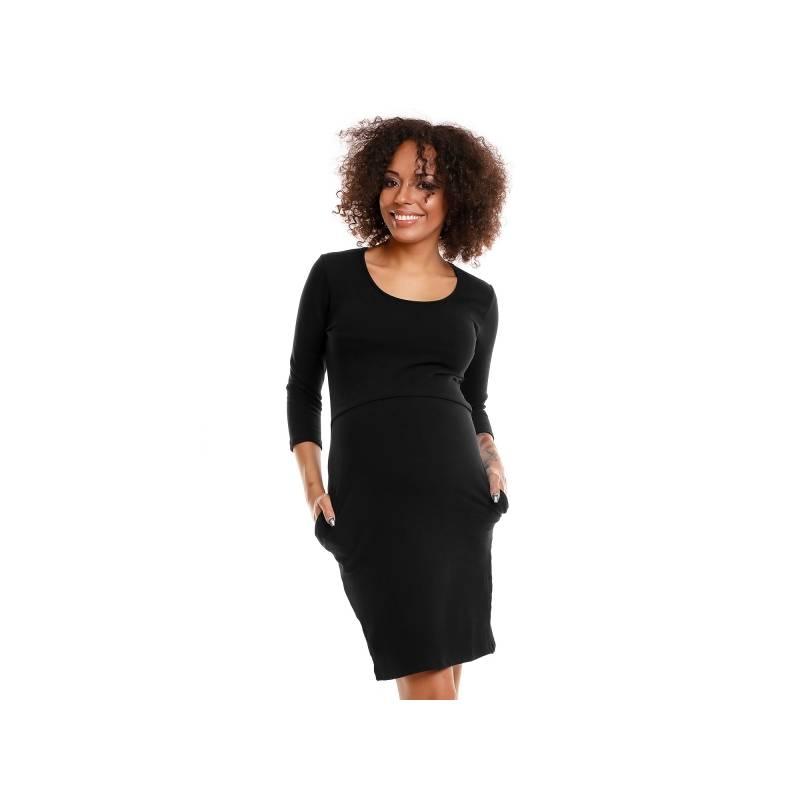 161ce398b Pohodlné tehotenské šaty, 3/4 rukáv - čierné(dojčiace)