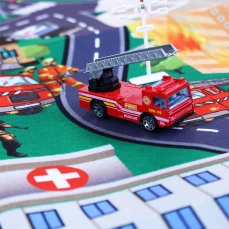 Koberec hasiči s kovovými autami