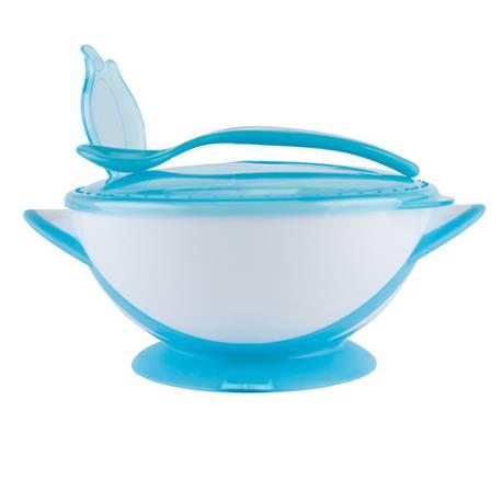 Uzatvárateľná miska s prísavkou a lyžičkou Baby Ono - modrá