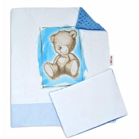 2-dielna sada do kočíka s Minky by Teddy - sv. modrá, modrá