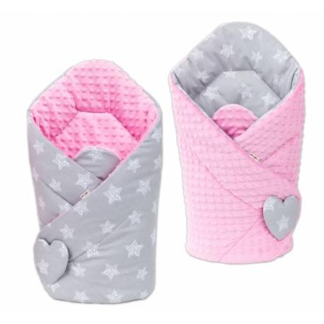 Obojstranná zavinovačka Minky Baby - Hvezdy sivé/ ružová