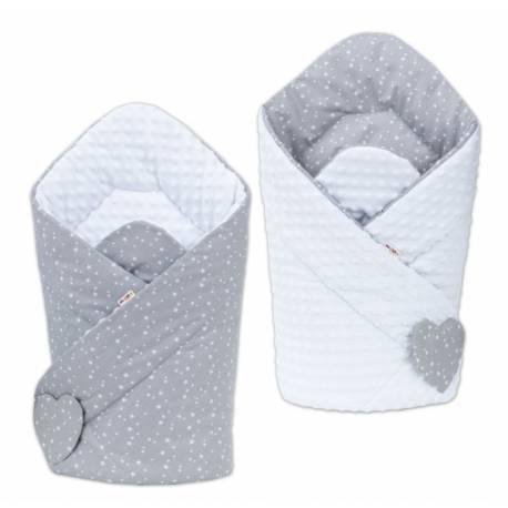 Obojstranná zavinovačka Minky Baby - Mini hvezdičky biele na sivom/ biela