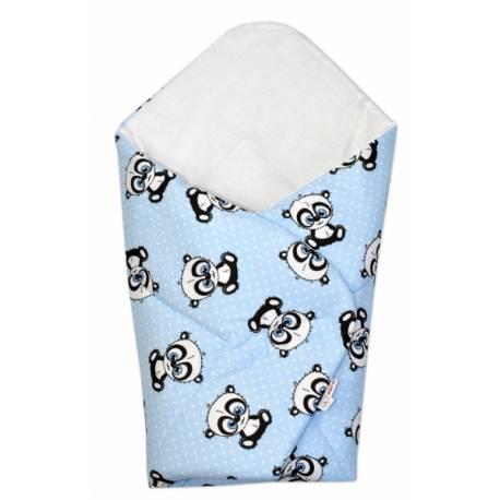 3-dielna sada mantinel s obliečkami + zavinovačka zadarmo - Baby Panda, modrá
