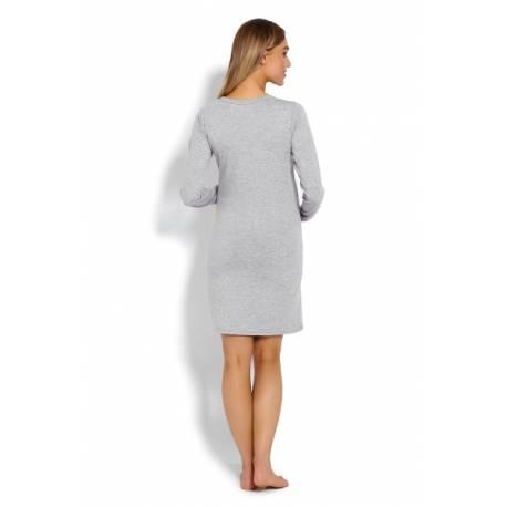 Tehotenská, dojčiace nočná košeľa Mráčky - sivá, veľ. L/XL