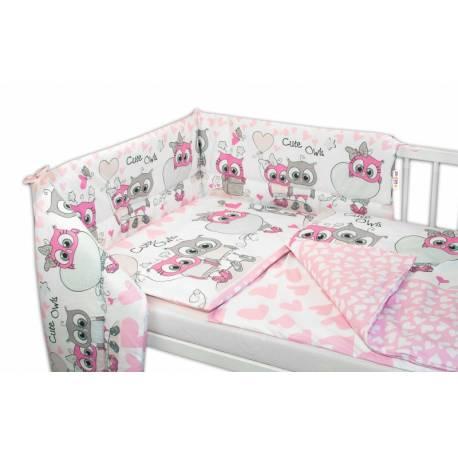 3- dielná sada mantinel s obliečkami 135x100, Cute Owls - ružová