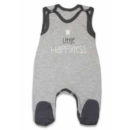 Dojčenské bavlnené dupačky, Malé Šťastie - sivé, veľ. 62
