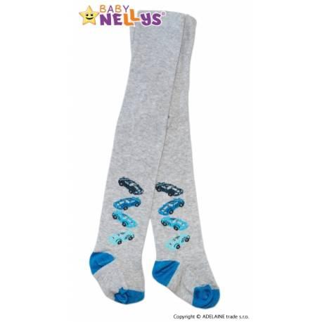 Bavlnené pančucháče Baby Nellys ® - 4 autíčka sv. sivej, veľ. 92/98