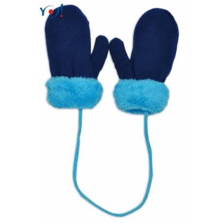 Zimné detské rukavice s kožušinou - šnúrkou YO - granátová/modrá kožušina, 12 cm