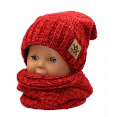 Jesenná/zimná čiapka s komínkem - červená
