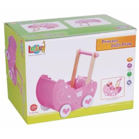 Drevený kočík pre bábiky 42,5 cm - ružový
