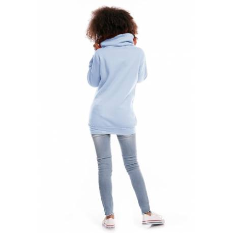 Tehotenská mikina s rolákom DORA - svetlo modrá