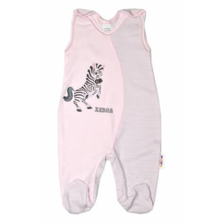 Dojčenské bavlnené dupačky, Zebra - růžové, veľ. 74