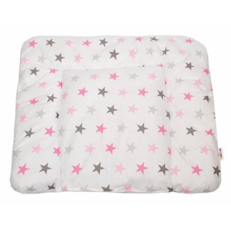 Prebaľovacia podložka 70x75cm, Hviezdičky ružové, šedé