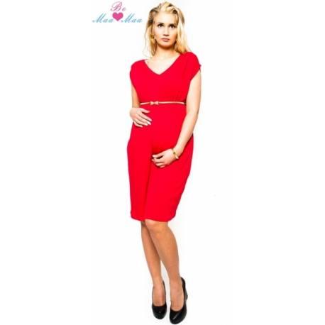Tehotenské šaty Be Maamaa - Kim - červené
