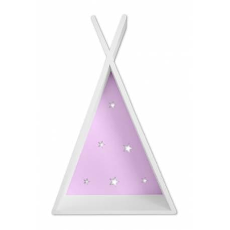 Polička na stenu Star - týpí biely s růžovou