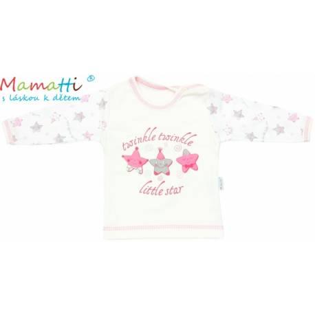 Tričko / košieľka dlhý rukáv Mamatti - STAR - smotanové/hvezdička