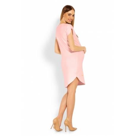Tehotenské asymetrické šaty, Kr. rukáv - sv. růžová, veľ. XXL
