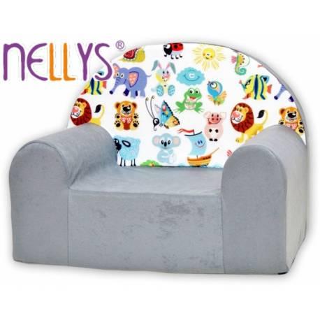 Detské kresielko / pohovečka Nellys ® - Veselá zvieratká v šedej