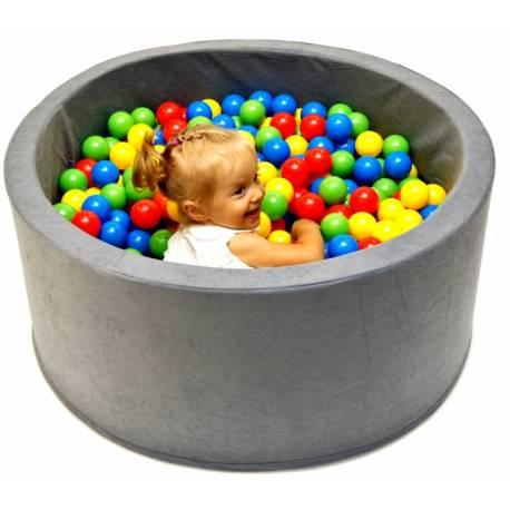 Bazén pre deti 90x40cm kruhový tvar + 200 balónikov - modrý, barevné kostičky