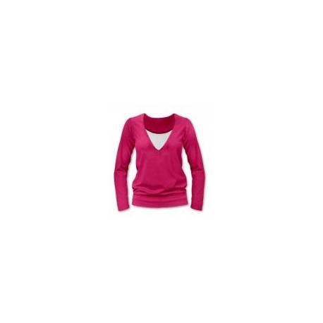 Dojčiace, tehotenské tričko Julie dl. rukáv - sýto ružová, L/XL