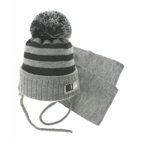 Zimná pletená čiapočka s šálom No.1 Team - prúžky sivá / grafit
