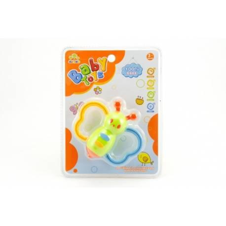 Hrkálka motýľ plast 10cm 3 farby na karte 3m +