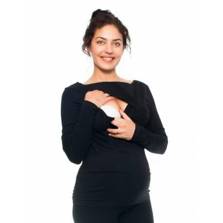 Tehotenské a dojčiace triko - pierko, dlhý rukáv, čierne, veľ. L