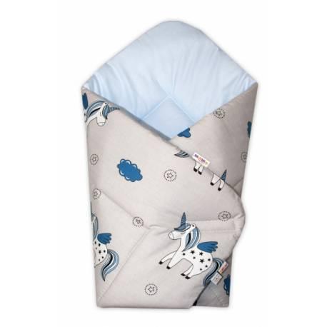 Novorodenecká zavinovačka Jednorožec, sivá/vnútro modré
