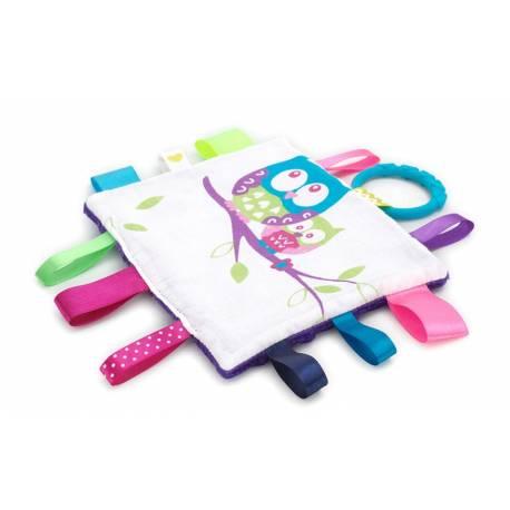 Látkový mazlík Mink s hryzátkom - malej sovy / fialová Minky