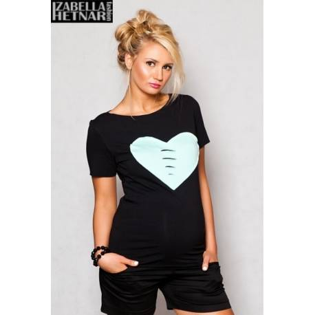 Tehotenské tričko / blúzka SRDCE - čierne