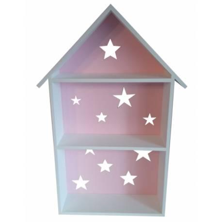 Polička na stenu Star - domček biely s růžovou