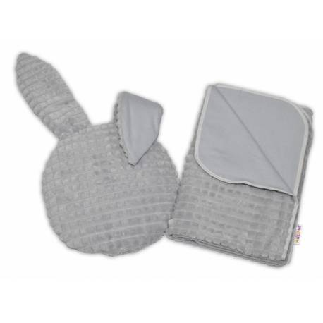 2-dielna súprava do kočíka s Minky, Zajačik - šedá.