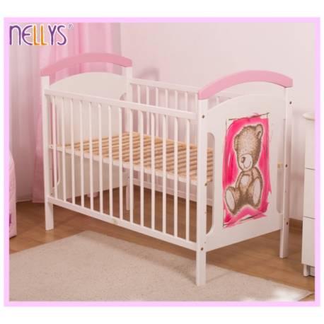 Drevená postieľka TEDDY Nellys - ružová / biela
