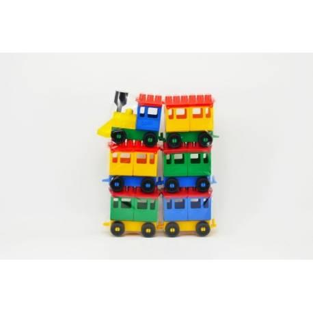 Stavebnica LORI 8 vlak + 5 vagónikov plast v sáčku 20x26x5cm