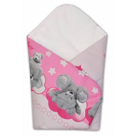 Novorodenecká zavinovačka Macko Hviezdička Baby Nellys - ružová