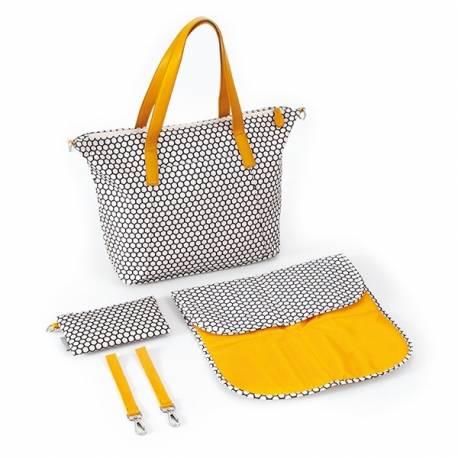 Prebaľovacia taška ku kočíku - béž/tyrkys/ornament