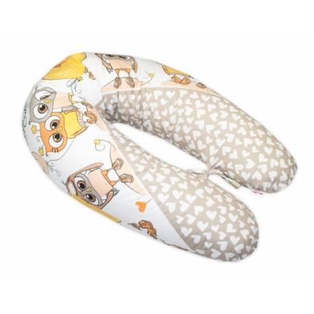 Dojčiace vankúš - relaxačná poduška Multi Cute Owls - béžový