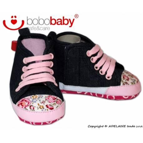 Rozkošné topánočky BOBO BABY - jeans s kviatočkami