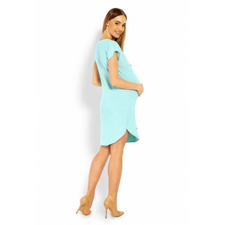 Tehotenské asymetrické šaty, Kr. rukáv - mätové, veľ. L/XL