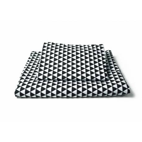 Vankúšikový mantinel s obliečkami - trojúholníčky, čierna/biela/šedá