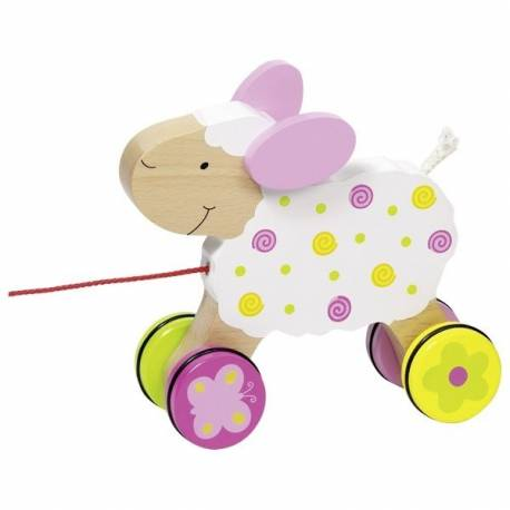 Edukačná drevená hračka 15 cm ťahacia - Ovečka Suzi