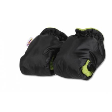 Sánky s búdou, opierkou, fusak a s polohovateľným madlom + ZADARMO rukávnik -čierny / zele