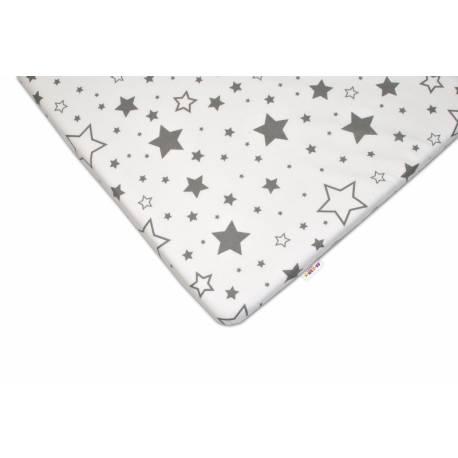 Bavlnené prestieradlo 60x120 - Sivé hviezdy a hviezdičky - biele