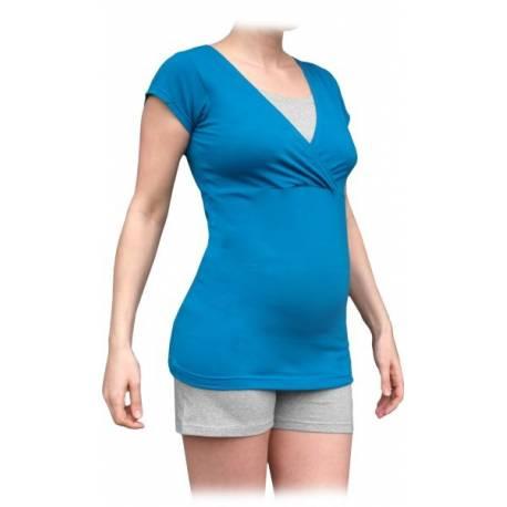 Tehotenská-dojčiace pyžamo, krátke - tm.tyrkys/ sivý melír