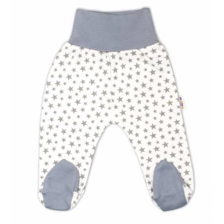 Bavlnené dojčenské polodupačky Baby Nellys ® - biele, mini hviezdičky - sivé