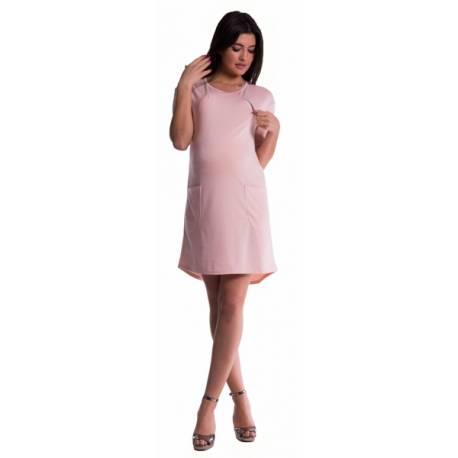 Tehotenské a dojčiace šaty - púdrovo ružové