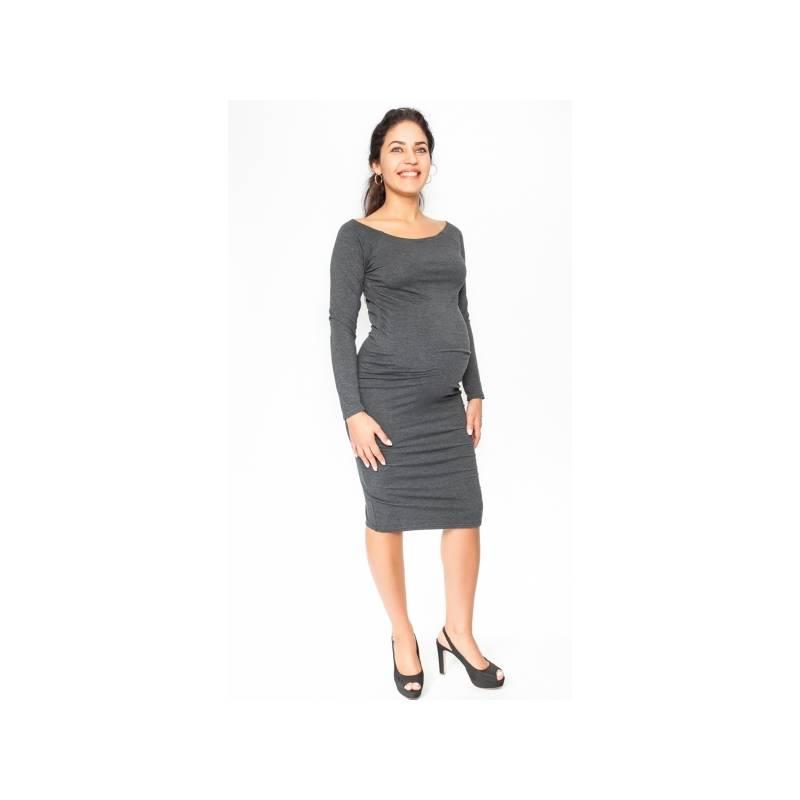 036fde9b7 Pohodlné tehotenské šaty, dlhý rukáv - grafitové, veľ. S